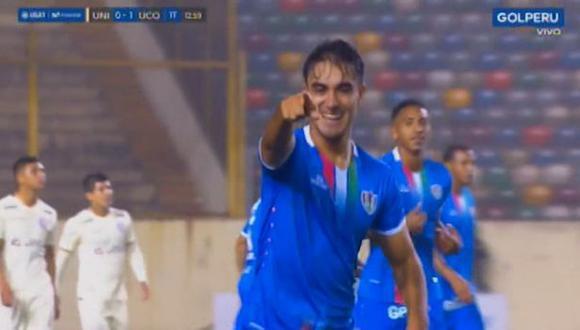 Universitario vs. Unión Comercio: Luis Garro convirtió el 1-0 con un gran cabezazo | Foto: Captura