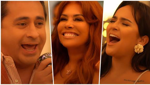 """Alfredo Zambrano, Magaly Medina y Daniela Darcourt; tal y como aparecen el el videoclip de la nueva versión de """"probablemente"""". Fotos: Magaly Medina en YouTube."""