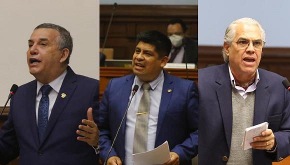 Los congresistas Daniel Urresti (Podemos Perú), José Luna Morales (Podemos Perú) y Gino Costa (Partido Morado) participaron presencialmente del debate sobre la vacancia. (Fotos: Congreso)