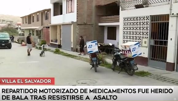Repartidor motorizado fue herido de bala tras resistirse al robo de sus pertenencias. Imagen: Captura América Noticias
