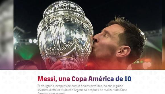 Así informa el Barcelona sobre el éxito de Lionel Messi en la Copa América. (Captura FC Barcelona)