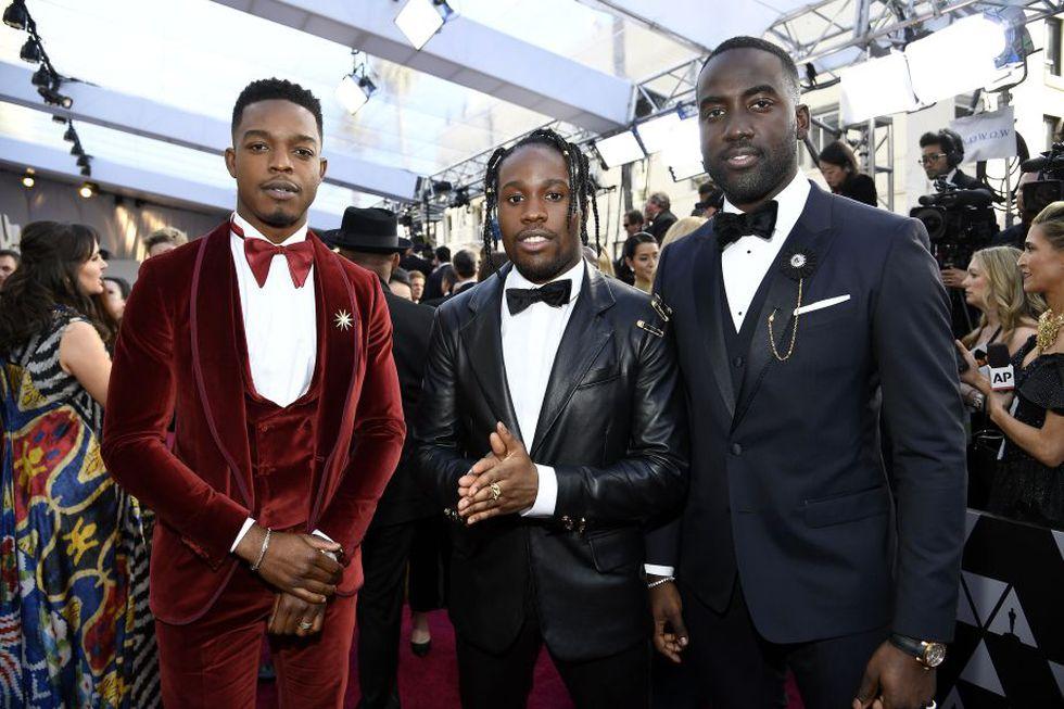 Stephan James, Shameik Moore y Shamier Anderson en la gala del Oscar 2019 (Foto: AFP)