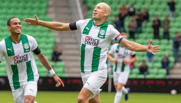 Arjen Robben abrió el marcador en el amistoso ante Arminia Bielefeld. (Foto: FC Groningen)