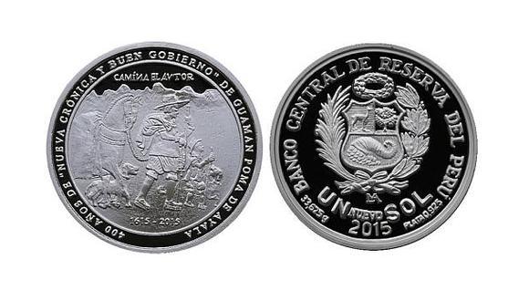 El BCR emitió moneda de plata alusiva a Guaman Poma de Ayala