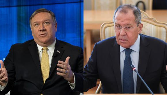 El secretario de Estado de Estados Unidos, Mike Pompeo, y el ministro de Exteriores ruso, Serguéi Lavrov. (Foto: AFP)