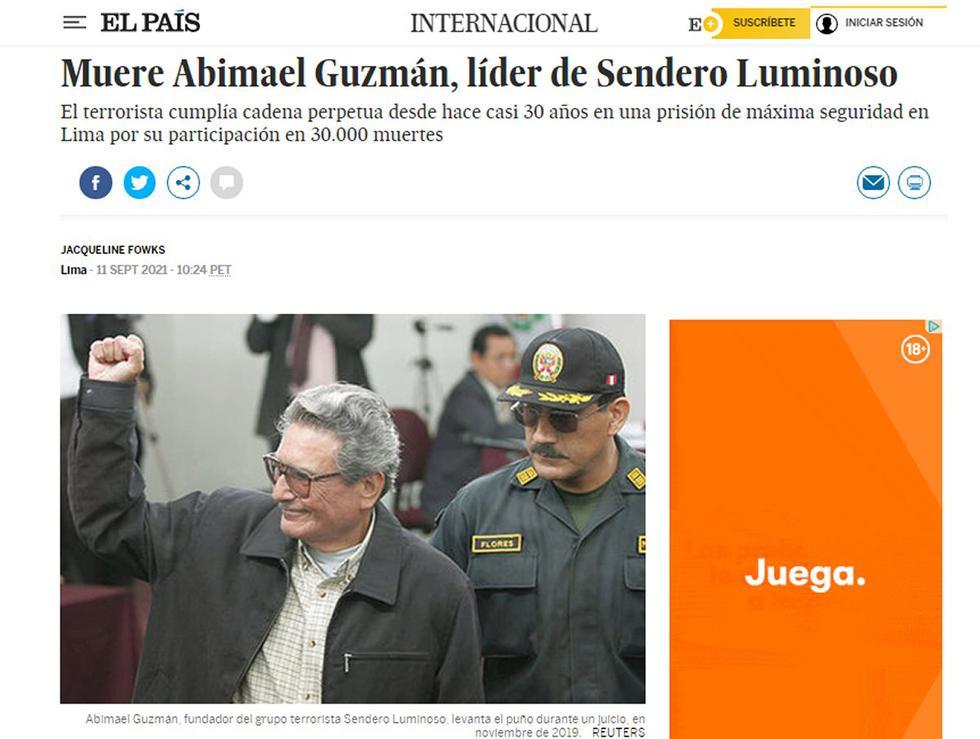 El cabecilla de la agrupación terrorista peruana Sendero Luminoso, Abimael Guzmán, de 86 años, murió en la prisión de máxima seguridad donde cumplía cadena perpetua desde 1992, informó este sábado su abogado a la AFP. (Foto: portada El País)