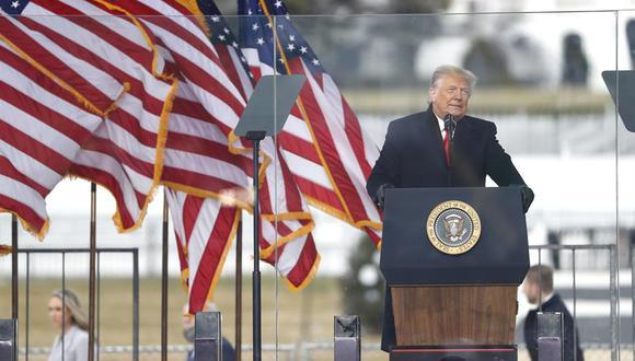 El presidente de Estados Unidos, Donald Trump, pronuncia un discurso el 6 de enero de 2021 antes del asalto al Capitolio por parte de sus partidarios. (EFE / EPA / SHAWN THEW).