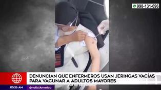 Denuncian que enfermeros usan jeringas vacías en vacunación de adultos mayores