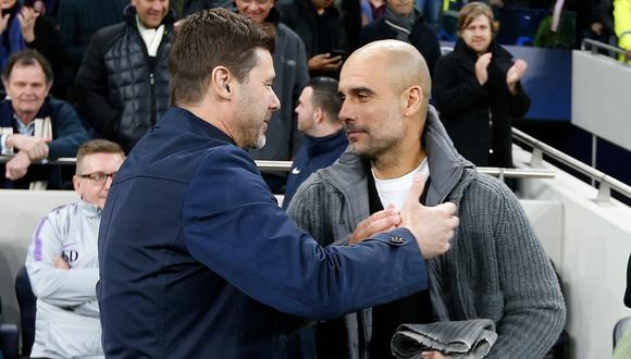 Pep Guardiola y Mauricio Pochettino se enfrentarán por octava vez al frente del Manchester City y Tottenham, este miércoles en la Champions League. (Foto: AFP)