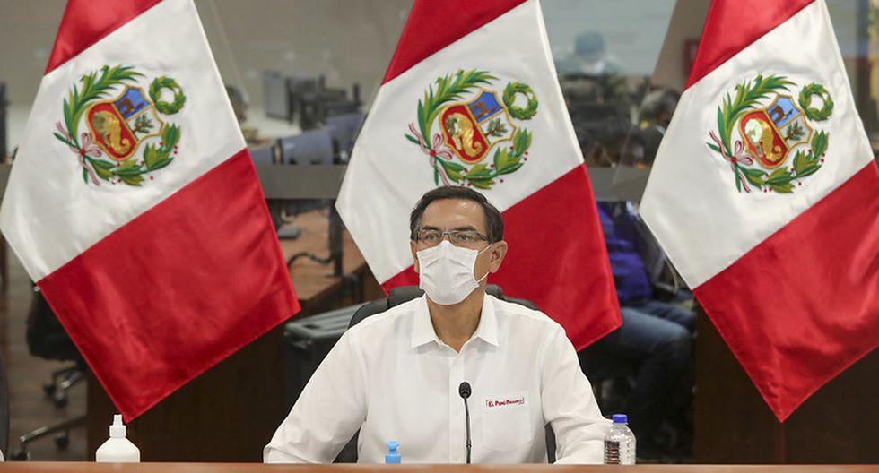 El presidente Martín Vizcarra participa en una sesión virtual con los miembros del Acuerdo Nacional, el pasado 5 de mayo. (Foto: Sepres).
