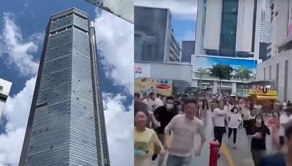 El rascacielos SEG Plaza, de 300 metros de altura, comenzó a temblar sin razón aparente. (Captura de video).