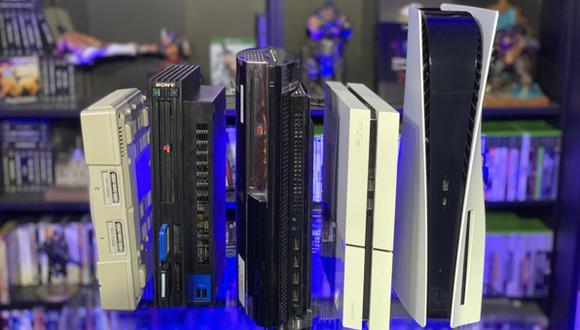De izquierda a derecha: PS1, PS2, PS3, PS4 y PS5. (Captura de pantalla)