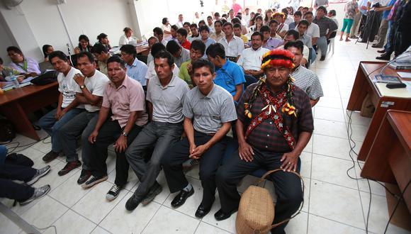 Imagen de uno de las audiencias del juicio que se realizó contra 53 pertenecientes a comunidades indígenas en Bagua por la Curva del Diablo (Foto: Lino Chipana / Archivo El Comercio).