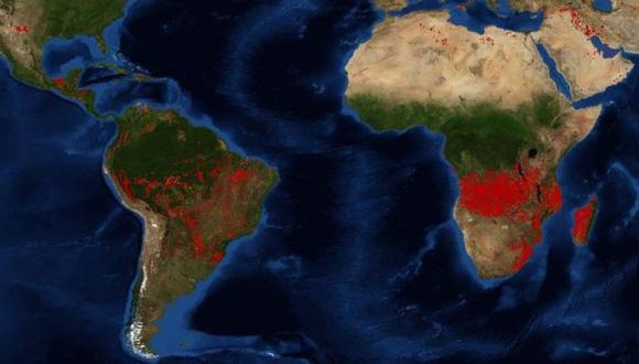 A simple vista, África pareciera estar mucho peor. Imagen: NASA, vía BBC Mundo