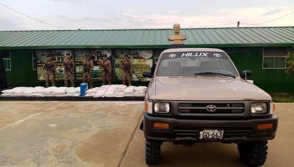 Junín: fueron intervenidas dos camionetas con 800 kilos de insumos para elaboración de droga. (Foto: CCFFAAA)