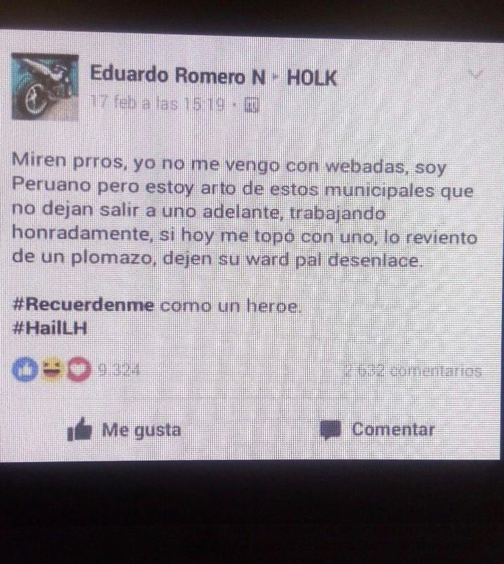 Lo que Eduardo Romero Naupay había publicado en su cuenta de Facebook el mismo día del asesinato.