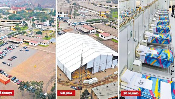 En el estacionamiento de 3.900 m2 del nosocomio Hipólito Unanue, se empezó a construir el primer local móvil. La instalación ocupa un área de 2.260 m2 y alberga 100 camas con puntos de oxígeno conectados a tanques. Esta semana, se entregarán dos centros más y los otros estarán listos en los próximos días. (Legado Lima 2019)