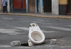 La Libertad: un inodoro cubre un forado en una pista del Centro Histórico de Trujillo
