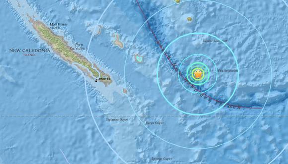 Un terremoto sacude Nueva Caledonia, en el Pacífico Sur. (USGS).