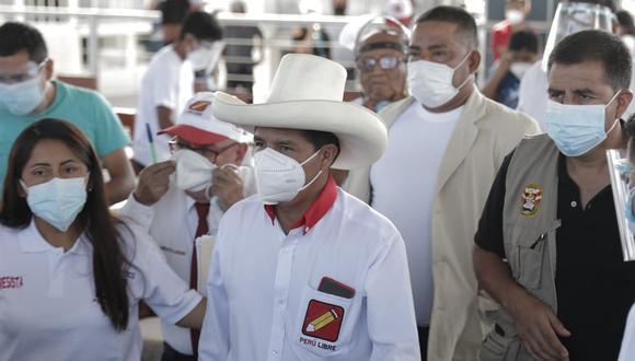 El candidato presidencial Pedro Castillo realiza su campaña en el norte del país (Foto: Renzo Salazar / @photo.gec)