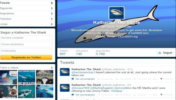 Katharine, un tiburón blanco es estrella de twitter