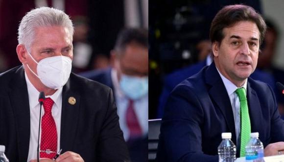 Miguel Díaz-Canel y Luis Lacalle Pou. (Reuters).