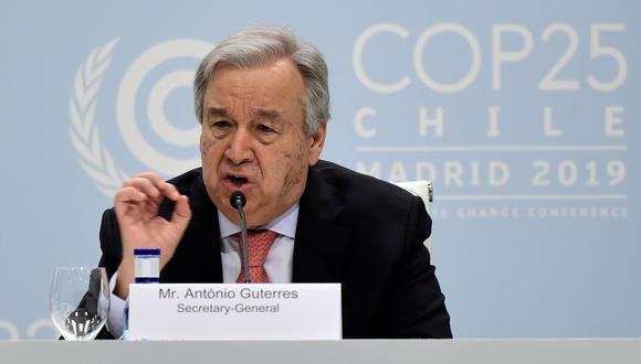 COP25: António Guterres, secretario general de la ONU, ofrece una delcaración en Madrid. (AFP / CRISTINA QUICLER).
