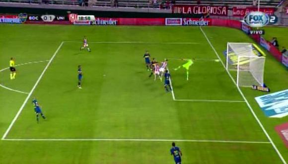 Boca Juniors vs. Unión: Augusto Lotti y la gran definición para el 1-0. | Foto: Captura