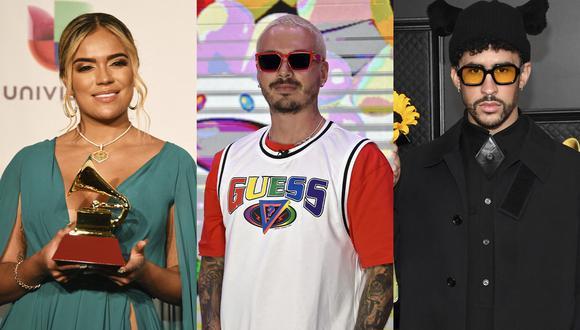 Karol G, J Balvin y Bad Bunny son los artistas que encabezan las nominaciones en los Latin American Music Awards 2021. (Foto: Bridget Bennett, Alfredo Estrella y Kevin Mazur para AFP)