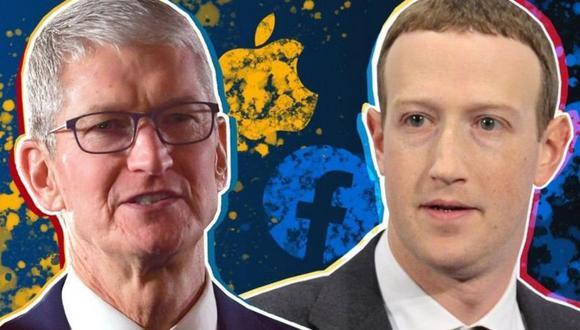 Tim Cook (izquierda) y Mark Zuckerberg. (GETTY IMAGES)