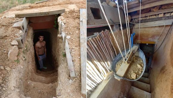 Andrés Cantó muestra el trabajo que realiza en su cueva. Todo empezó con una rabieta tras el regaño de sus padres, ahora es una construcción que cuenta con 3 habitaciones. | Foto: @andresiko_16
