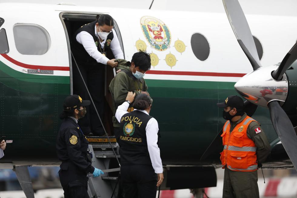 Segundo Apaza Polloqueri, principal sospechoso del crimen de haber asesinado a la prestamista Marleny Estrada Bolívar, llegó a Lima esta tarde luego de haber sido capturado en  la ciudad de La Paz Bolivia. (Foto:César Bueno /@photo.gec)