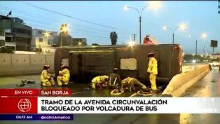 San Borja: bus sufrió una volcadura tras despistarse en la avenida Circunvalación