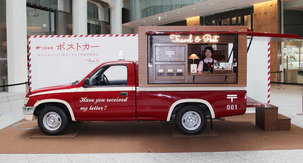 La compañía de correos japonesa Japan Post decidió brindarle un aspecto vintage al clásico Toyota Hilux para esta misión. (Fotos: Difusión).