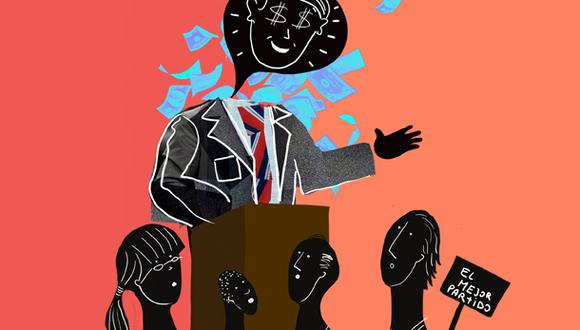 """""""Nada de más, nada de menos en un sistema político para quienes creen que el poder del dinero resulta tan crucial en unos comicios, tal como puede ser la cantidad de votos que se obtendrá al final en la contienda"""". (Ilustración: Giovanni Tazza)"""