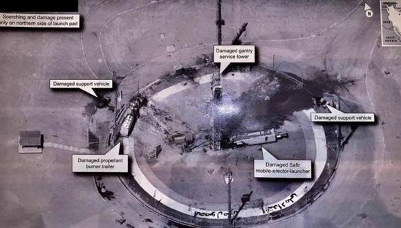 Esta imagen de alta resolución compartida por Donald Trump de una supuesta plataforma de lanzamiento espacial iraní causó gran polémica al poder estar destapando información militar confidencial de Estados Unidos.