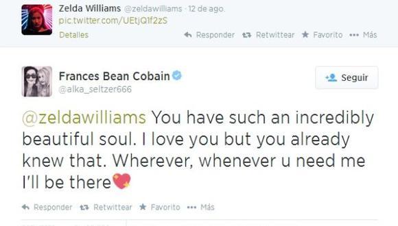 Hija de Kurt Cobain ofreció su apoyo a Zelda Williams
