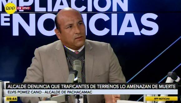 El alcalde de Pachacámac, Elvis Pomez Cano, denunció recibir amenazas constantes contra su persona por parte de presuntos traficantes de terrenos. (RPP)
