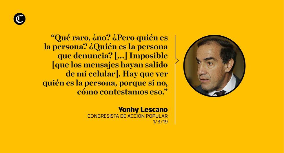 Yonhy Lescano y las expresiones con las que se ha defendido de denuncia por acoso sexual contra una periodista. (El Comercio)