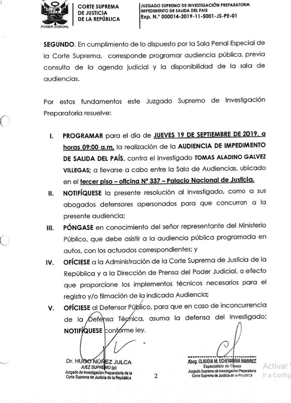 Corte Suprema analizará pedido de impedimento de salida del país contra el fiscal supremo Tomás Gálvez por el caso Los Cuellos Blancos del Puerto