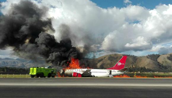 Investigarán incendio de avión de Peruvian Airlines en Jauja