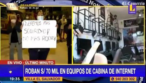 La propietaria del negocio, Justina Bravo, detalló que los delincuentes aprovecharon que su familia estaba durmiendo para ingresar a la cabina de internet. (Foto: captura de video)