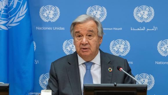 El secretario general de la ONU, Antonio Guterres, habla durante una rueda de prensa en Nueva York (Estados Unidos). (EFE/Eskinder Debebe/ONU).
