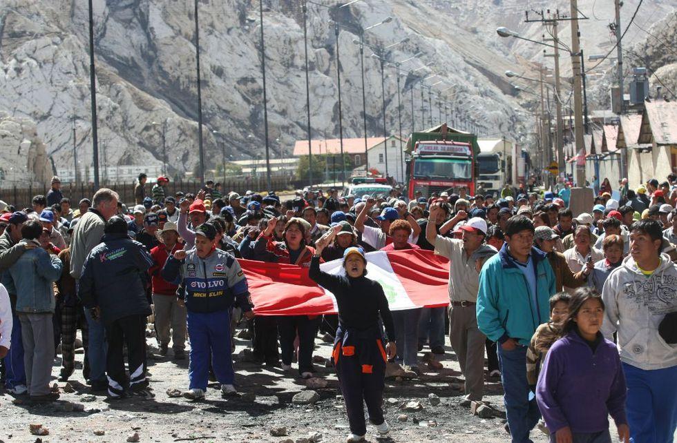 Los trabajadores de Doe Run protestaron por la reactivación de las operaciones. (Foto: Juan Ponce/GEC)