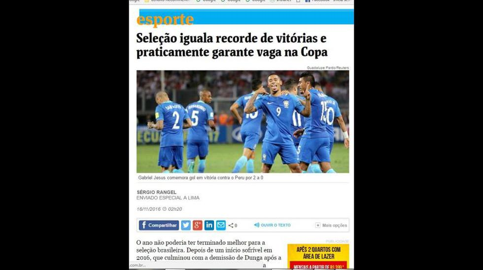 Selección: ¿Qué dijo la prensa de Brasil del triunfo ante Perú? - 6