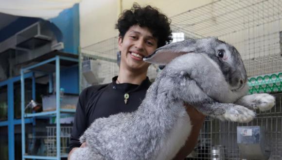 Fotografía que muestra al joven Kiro Yakin, mientras enseña una cría de conejo Flandes el 25 de marzo de 2021, en el municipio de Huauchinango, en el estado de Puebla (México). (EFE/Hilda Ríos).