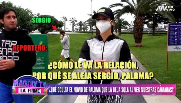 "Pareja de Paloma Fiuza se corre de las cámaras de ""Magaly TV: La Firme"". (Foto: Captura ATV)"