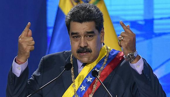 En esta fotografía del 22 de enero de 2021, el presidente venezolano Nicolás Maduro habla durante una ceremonia en Caracas. (Foto: AP)