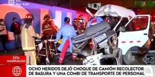 Callao: choque entre combi y camión de basura dejó ocho heridos
