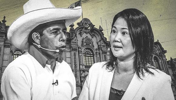 Pedro Castillo disputa no solo la segunda vuelta electoral, sino la realización de los debates planteados por el JNE. (Composición: El Comercio)